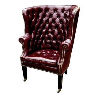 Ralph Lauren Leather Chesterfield Wingback Chair For Sale