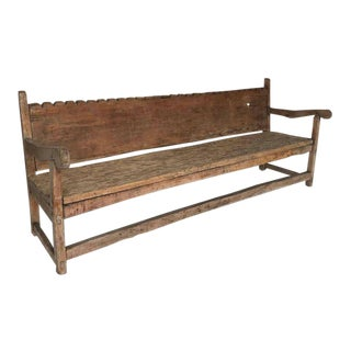 19th Century Hand-Carved Scalloped Back Bench