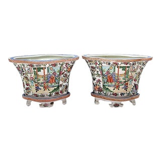 Opposing Chinese Famille Rose Quatrefoil Shaped Porcelain Planters on Stands - a Pair For Sale