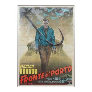 """Vintage Oversized Framed Movie Poster, 1954 """"On the Waterfront"""" For Sale"""