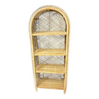 Mid Century Boho Chic Wicker Dome Top Bookcase
