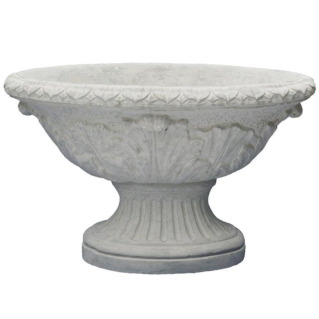 Inner Gardens Oval Acanthus Urn Planter in Limestone For Sale - Image 4 of 4
