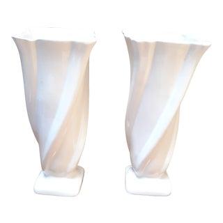 Vintage Art Deco Camark White Ceramic Vases - a Pair For Sale