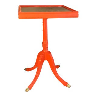Vintage Orange Square Claw Feet Cocktail Table For Sale