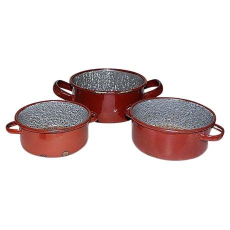 Austrian Enamelware Pots - Set of 3 - Image 1 of 5