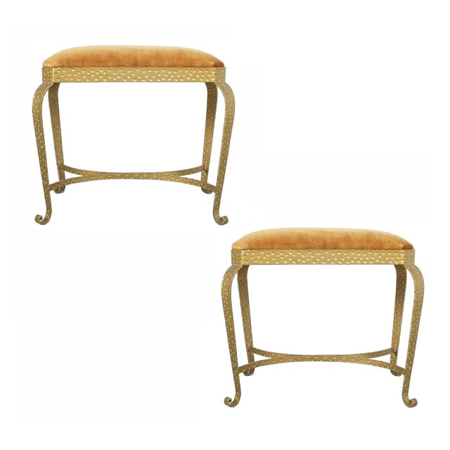 Pair Golden Pier Luigi Colli Iron Bedroom Benches Italy, 1950 For Sale - Image 12 of 12