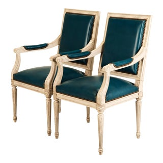French Louis XVI Style Custom Dyed Blue Leather Armchairs - a pair For Sale