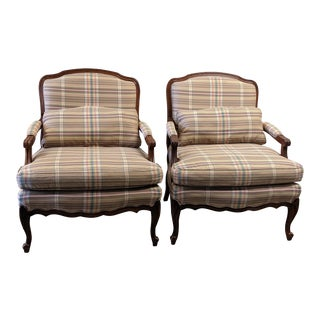 Sam Moore for Ethan Allen French Country Bergere Chairs - A Pair For Sale