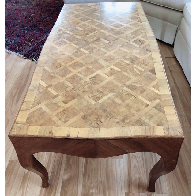 Lovely Marquetry Wooden Inlay Coffee Table For Sale - Image 4 of 10