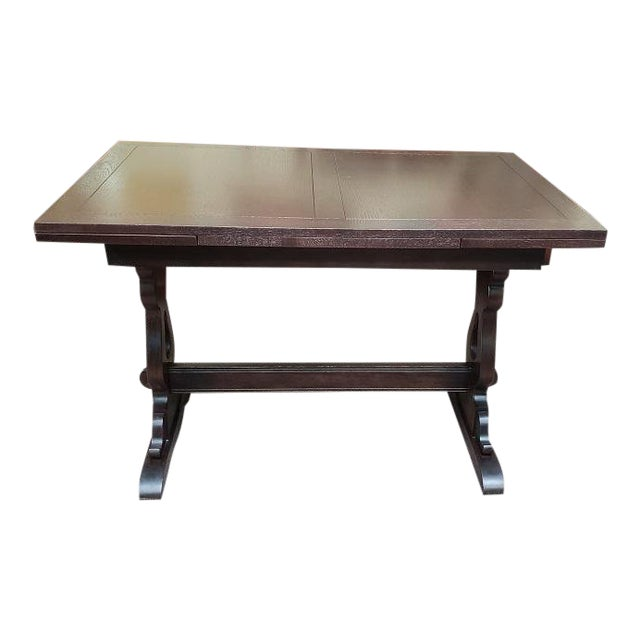 English Oak Trestle Base Draw Leaf Dining Table C.1940 For Sale
