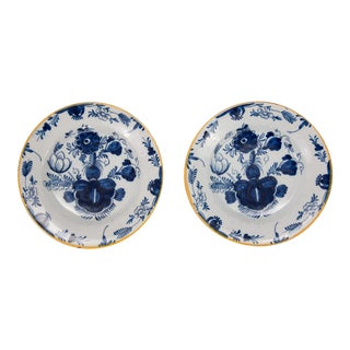 Antique 18th Century Dutch Delft Flower Plates - a Pair For Sale
