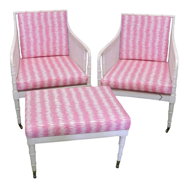 Raoul Textiles Bamboo Armchairs & Ottoman - 3 Pieces For Sale