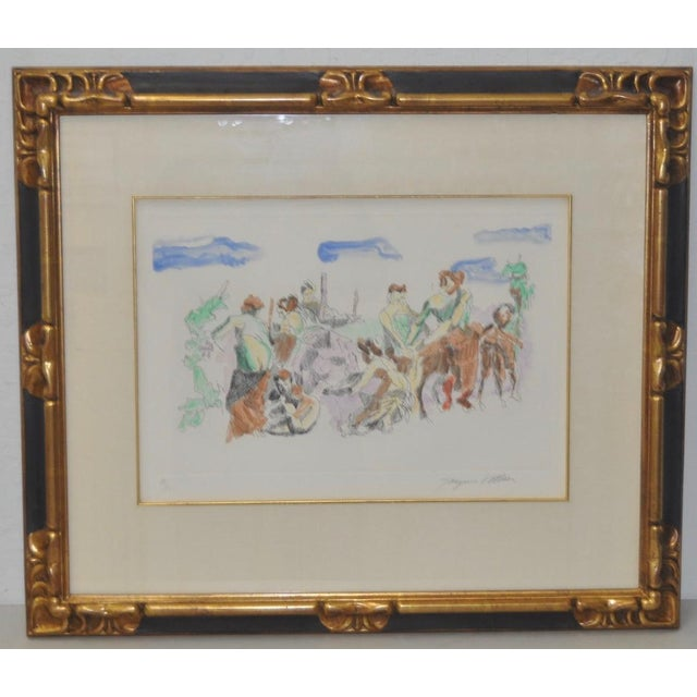 Jacques Villon (1875-1963) original color aquatint c.1961. Original pencil signed etching by listed artist Jacques Villon....