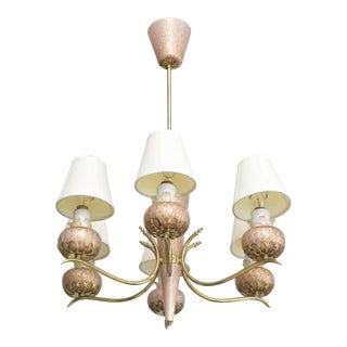 Murano Six-Arm Glass and Brass Chandelier For Sale