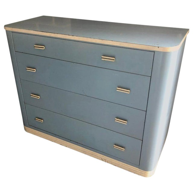 Dresser Lowboy by Norman Bel Geddes for Simmons Circa 1930s, Baby Blue and White For Sale