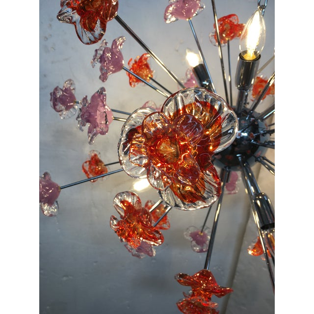 Contemporary Murano Glass Flowers Sputnik Chandelier For Sale - Image 9 of 12
