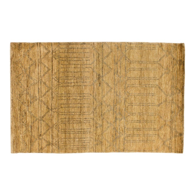 Solo Rugs Grit and Ground Collection Contemporary Mesa Verde Hand-Knotted Area Rug, Natural, 5' X 8' For Sale
