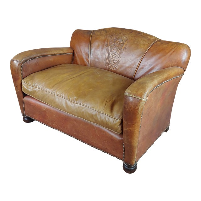 Antique 1930s English Leather Settee For Sale