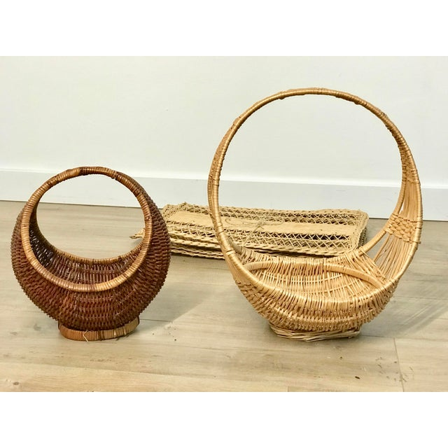 Nesting Gondola Woven Wicker Rattan Baskets - a Pair For Sale - Image 11 of 12