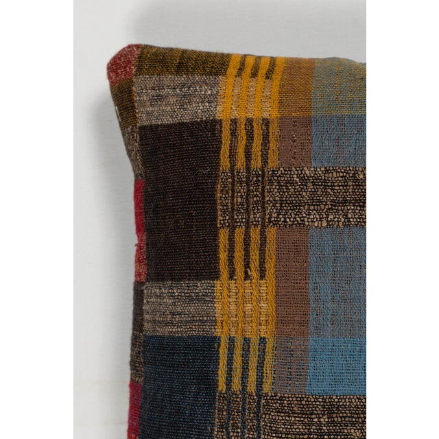Boho Chic Hand Woven Indian Textile Pillow in Japanese Stripe Design For Sale - Image 3 of 5