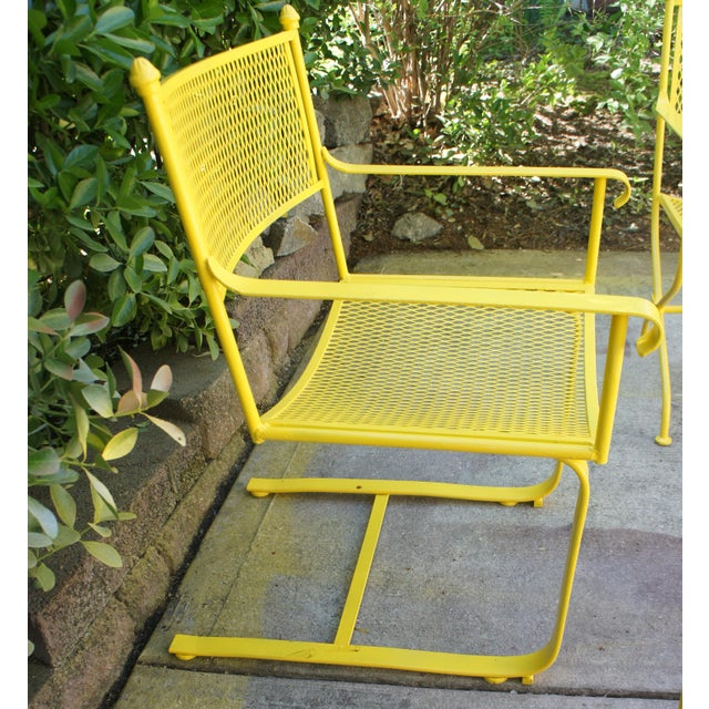 Vintage Mid Century Buttercup Yellow French Directoire Style Wrought Iron Patio Set- 5 Pieces For Sale - Image 9 of 13