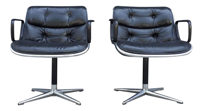 Charmant Pair Of Early Charles Pollock For Knoll Accent Chairs   Image 1 Of 10