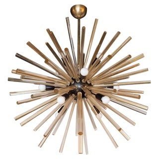 Modernist Hand Blown Murano 24 Kt Gold Translucent Glass & Black Enamel Sputnik Chandelier For Sale