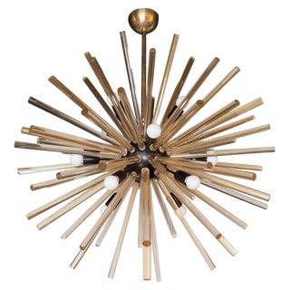Modernist Hand Blown Murano 24 Kt Gold Translucent Glass & Black Enamel Sputnik Chandelier For Sale