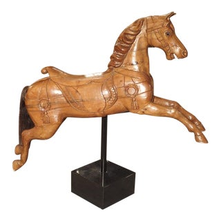 Circa 1900 Wooden Jumping Horse on Stand From Barcelona Spain For Sale