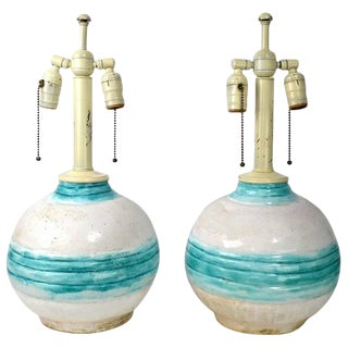 Pair of Art Deco Pottery Lamps Marke France Dore, 1928 For Sale