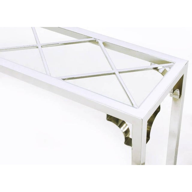 Chrome and Glass Chinese Chippendale Console Table - Image 5 of 6
