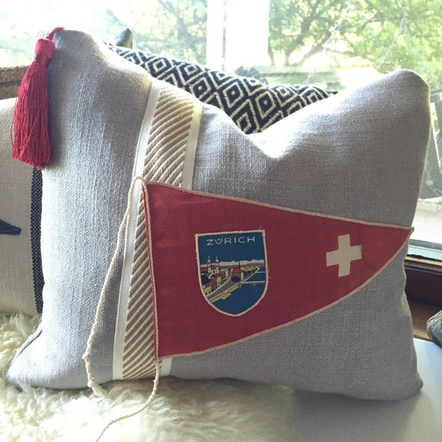 """Hit the Road!"" Vintage Travel Pennant Pillow - Image 4 of 5"