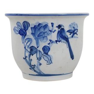 1970s Asian Blue & White Porcelain Flower Pot For Sale