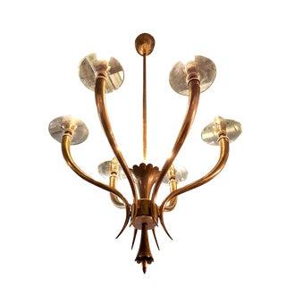 Mid-century modern Gio Ponti style brass/glass Italian chandelier For Sale