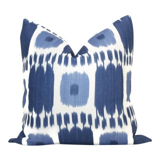 Blue Kandira Ikat Decorative Pillow Cover For Sale