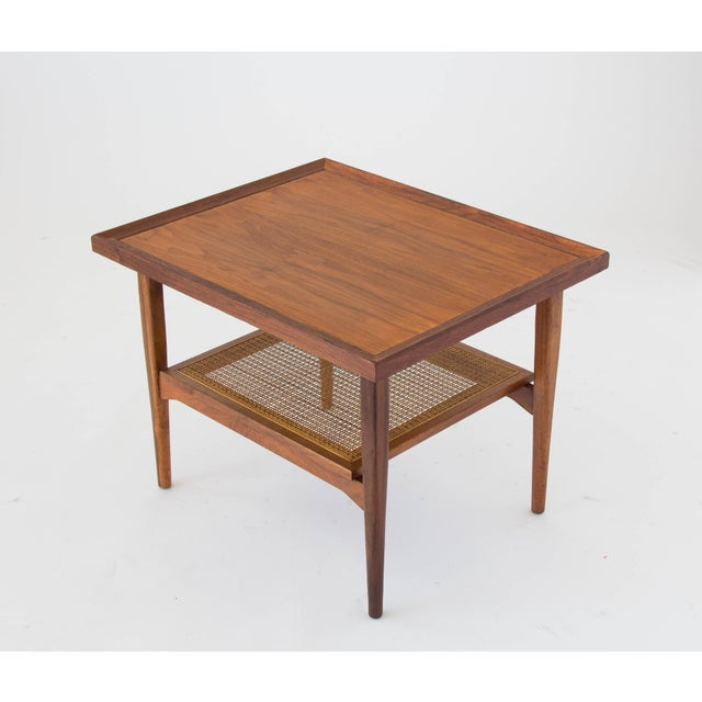 Caning Drexel Declaration Side Table with Cane Shelf For Sale - Image 7 of 8