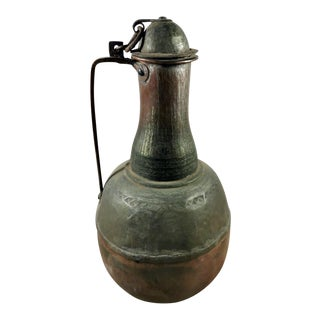 Antique Spanish Copper Jug With Lid For Sale