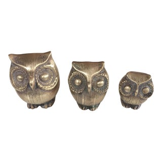 Miniature Brass Owls - Set of 3 For Sale