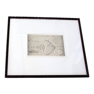Mid-Century Modern Framed Pop Art Print Signed Numbered by Vasarely 460/650 For Sale