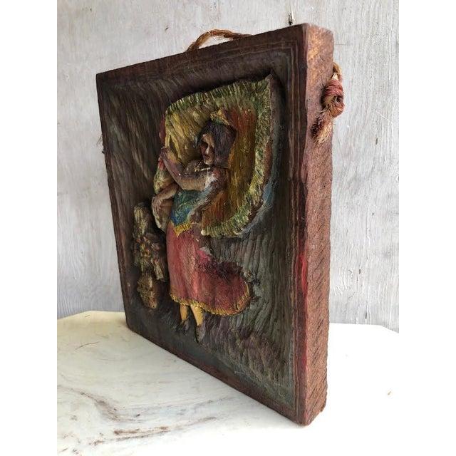 """1936 Vintage """"Dancing Dee"""" Folk Art Hand Carved Plaque For Sale - Image 4 of 7"""