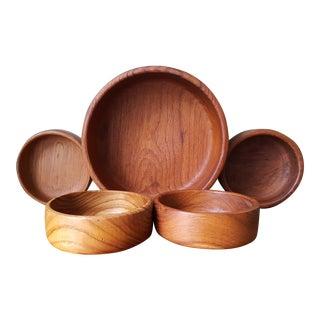 Teak Salad Bowl & 4 Serving Bowls