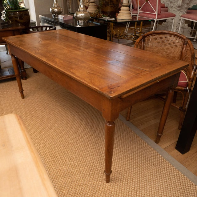 Brown French Provincial Cherrywood Farm Table For Sale - Image 8 of 11