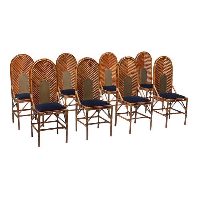 1970s Vivai Del Sud Dining Chairs in Bamboo, Brass & Blue Velvet - Set of 8 For Sale