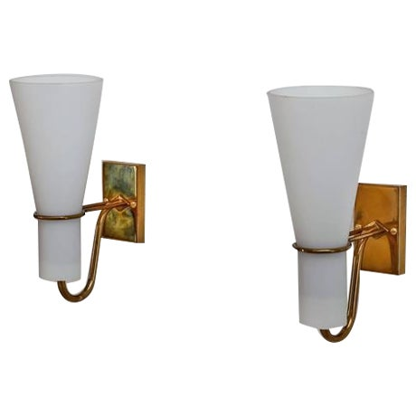Asea brass and opaline glass bedside wall lamps, Sweden, 1950s For Sale