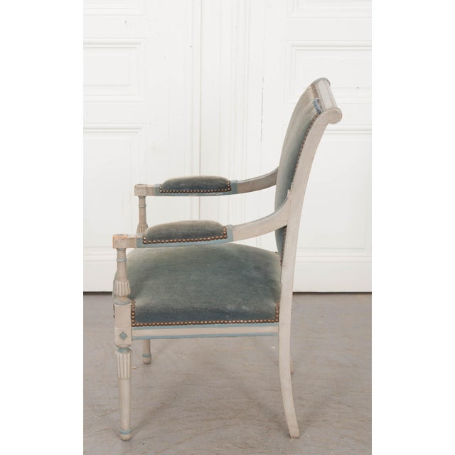 Empire French 19th Century Second Empire Painted Fauteuil For Sale - Image 3 of 13