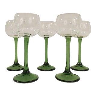 French Green Stemmed Wine Goblets - Set of 5 For Sale