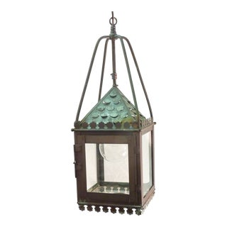 19th Century Continental Verdigris Copper Lantern For Sale