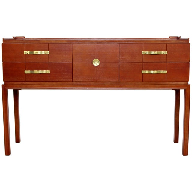 Brown Mid-Century Modern Tommi Parzinger for Charak Console Foyer Table Four-Drawer For Sale - Image 8 of 8