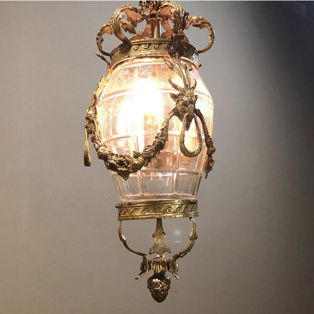 French Antique Bronze & Crystal Lantern Chandelier For Sale - Image 3 of 12