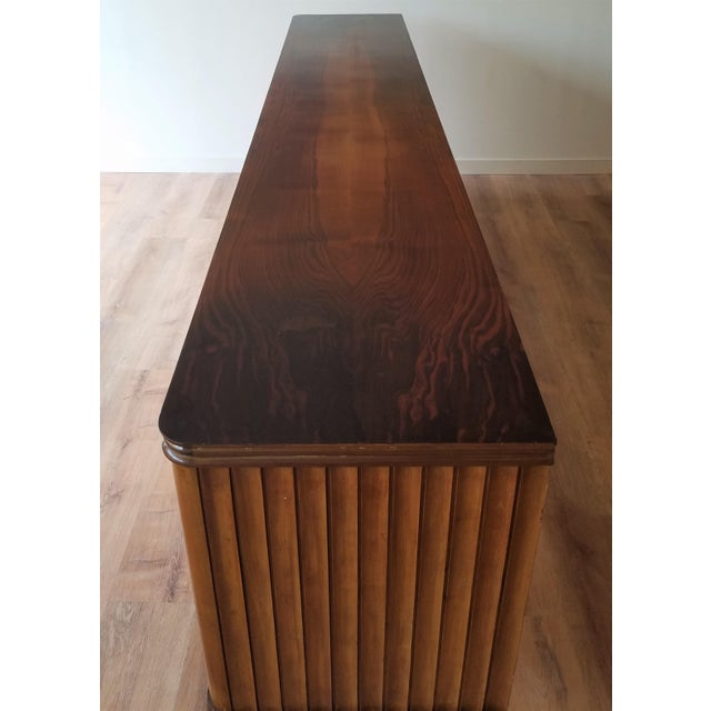 9' Custom Made Italian Credenza With Hand Carved Reliefs For Sale In Seattle - Image 6 of 13
